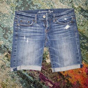 AE mid-thigh cuffed jean shorts